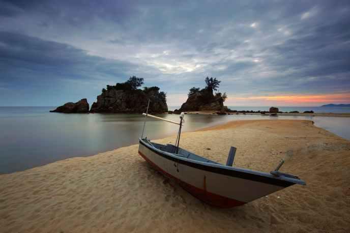 beach beautiful boat calm